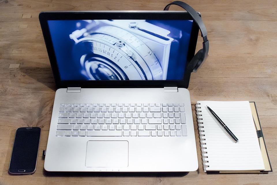 Komputer, Laptop, Biurko, Gniazdo Słuchawek, Notatnik