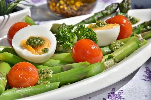 お食事, アスパラガス, 皿, 食物, 野菜, 卵, トマト, ペスト