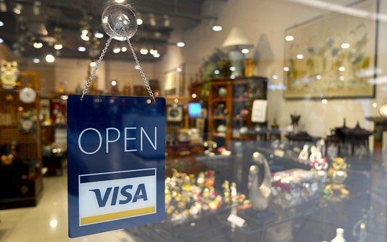 Open Sign, Visa Sign, Open, Store, Sign