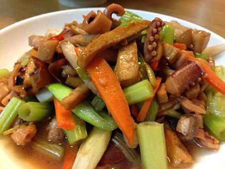 台灣小吃, 客家小炒, 美濃, 魷魚, 芹菜, 豆干