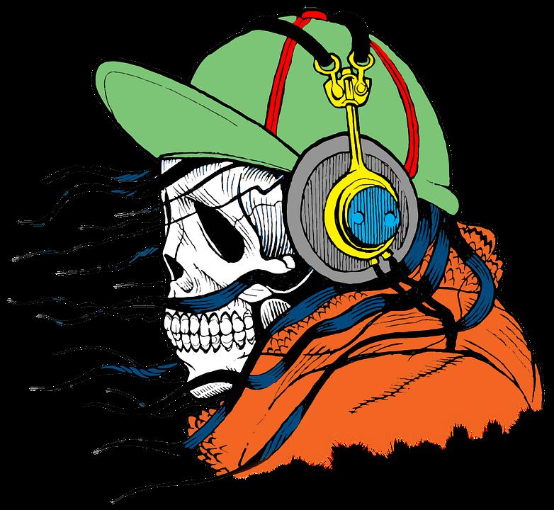 Hodeskallen til en person som hører på musikk er synlig. Dette illustrerer hvordan dødsangst ofte håndteres med fornektelse. Artikkeln utforsker derimot hvordan man kan gå fra angst til dødsbevissthet og slik leve mer aktive tilstedeværende liv.