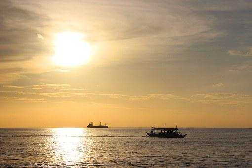Sunset, Ocean, Reflection, Travel