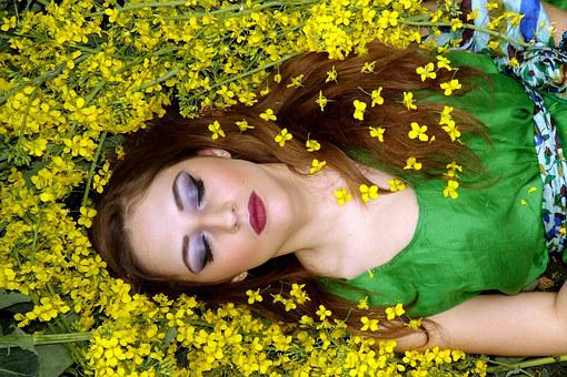 Girl, Flowers, Yellow, Dreaming, Sleep