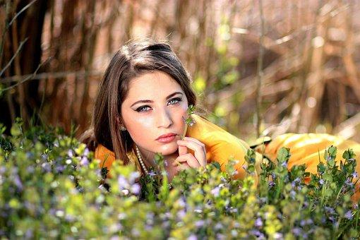 Girl, Blue Eyes, Seductive, Flowers
