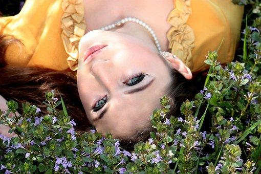 Chica, Ojos Azules, Seductor, Flores
