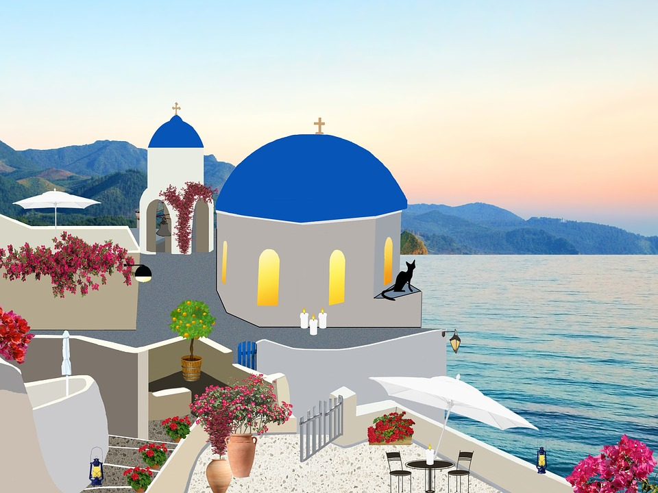 Santorini, Greece, Architecture, Bell Tower, Blue Water