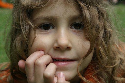 Thinking About, Kid, Locks, Girl, Child