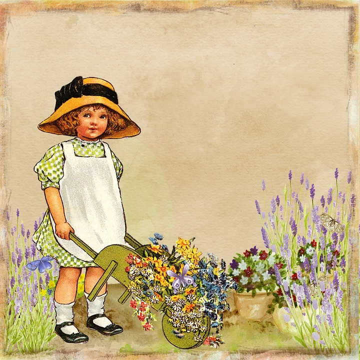 Free illustration flower garden vintage collage free for Classic house with flower garden