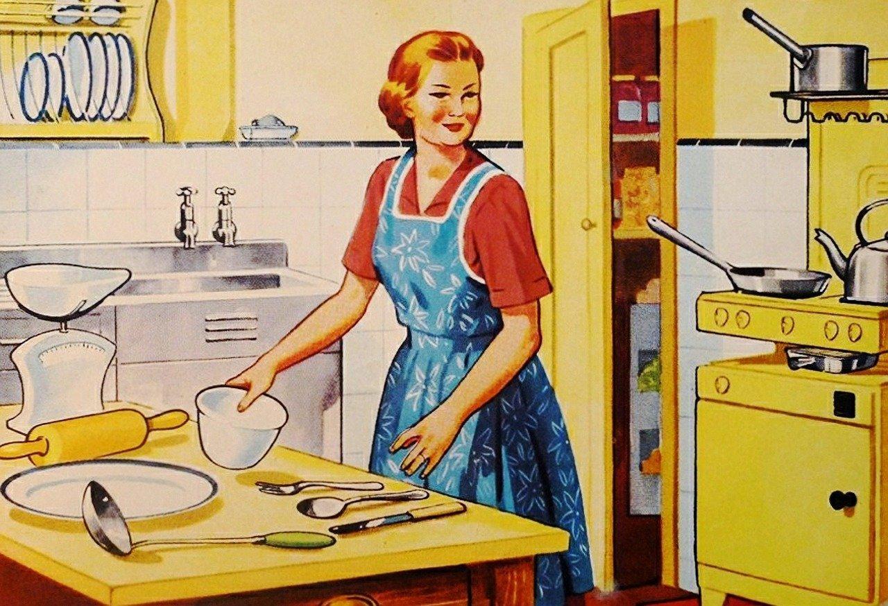Retro, Ama De Casa, Familia, Cocinar, Cocina, Esposa