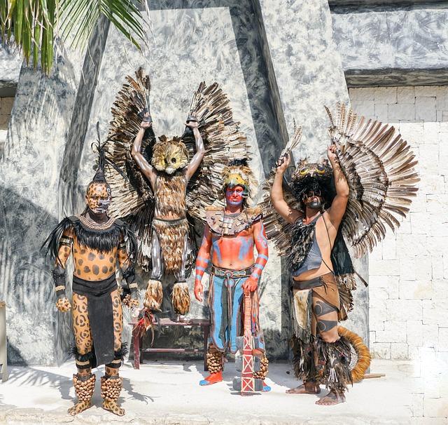 free photo mexico warriors posing costumes free