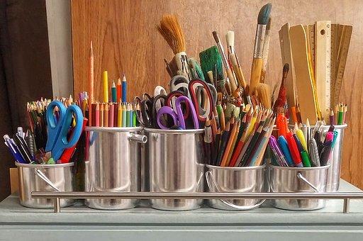 Art Supplies, Brushes, Rulers, Scissors