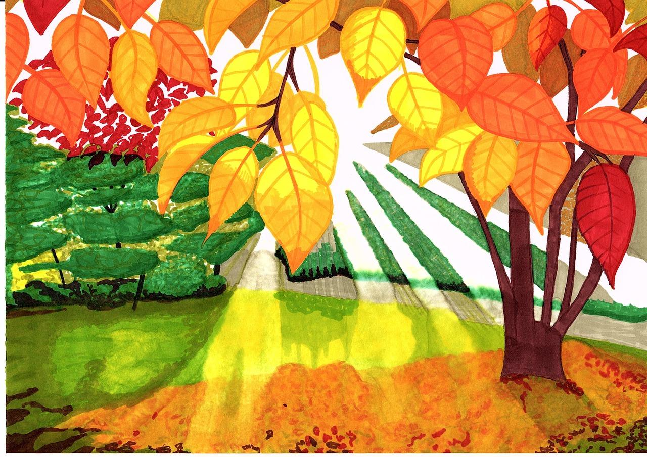 Красиво, картинки про осень нарисованные