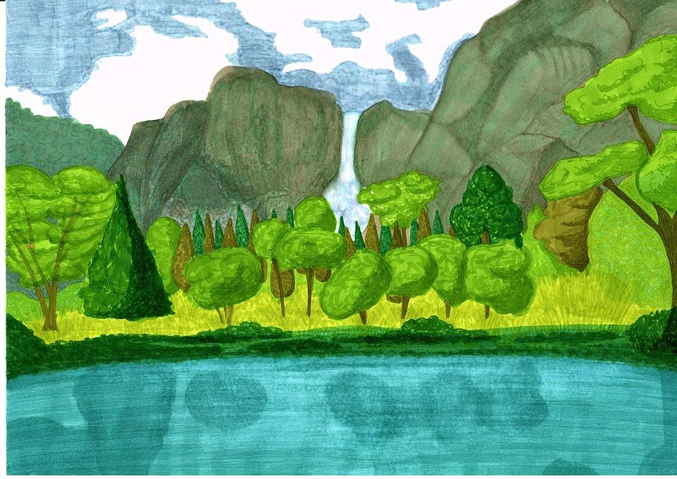 Illustration Gratuite: Paysage, Dessin, Nature, Cascade