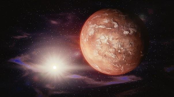Mars, Sun, Solar System, Space, Universe