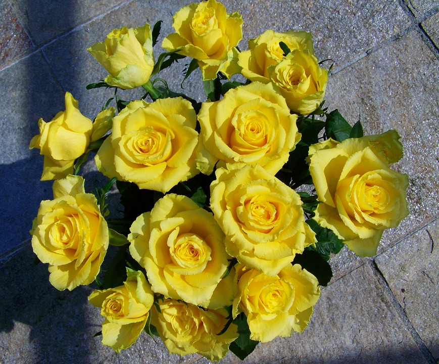 Photo gratuite rose bouquet roses jaunes image for Bouquet de fleurs jaunes