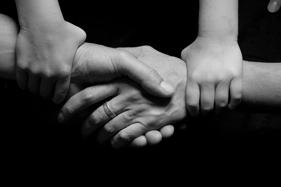 Conectado, Familia, Juntos, Niño, Apoyo