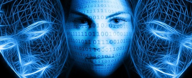 free illustration  binary  code  woman  face  view
