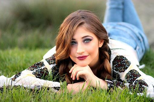 Girl, Rustic, Grass, Meadow, Green