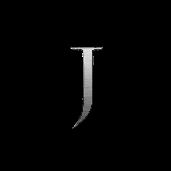 Letter J, Metal, Steel, Alphabet, Font