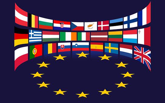 Union Européenne, Drapeaux, Étoiles, Eu
