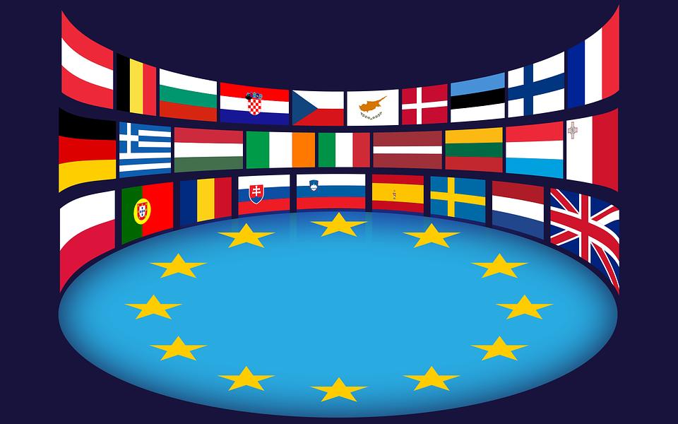 Unión Europea, Banderas, Estrellas, Ue, Países