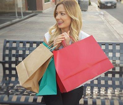 Mujer, Feliz, Compras, Bolsos De Compras