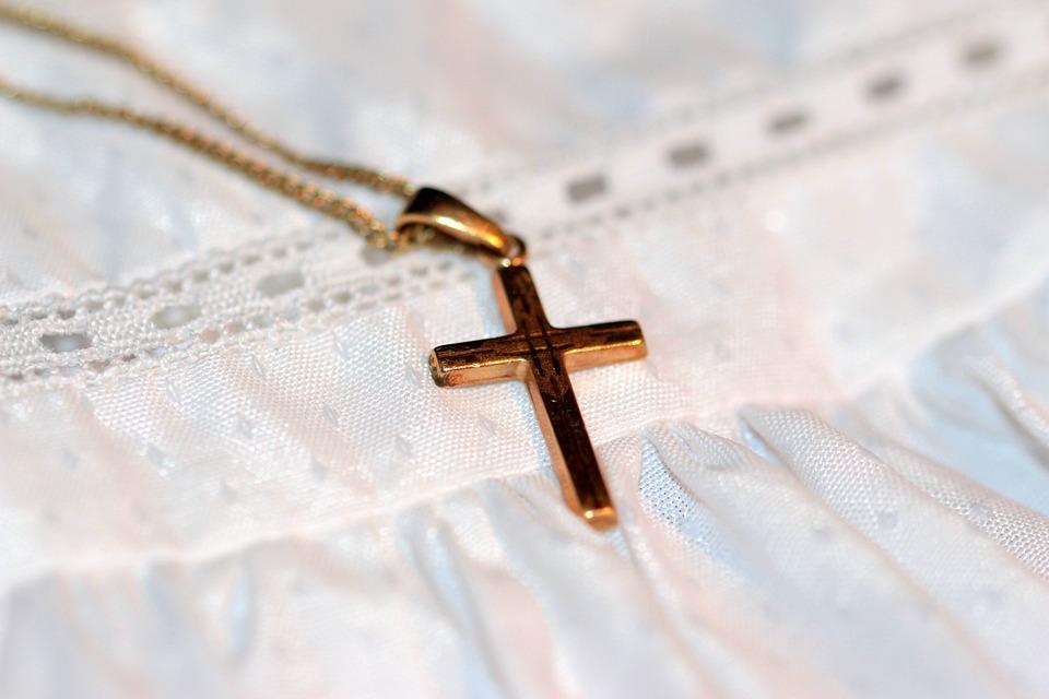 Croix, Croix En Or, Chaîne, Bracelet De Baptême