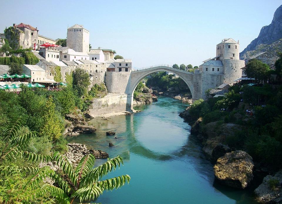 Mostar, Bridge, River, Arc, Bosnia And Herzegovina