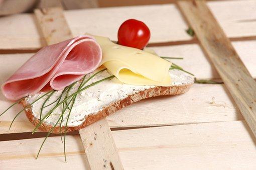 オープンサンドイッチ, パン, ブレッドアンドバター, チーズ, ハム