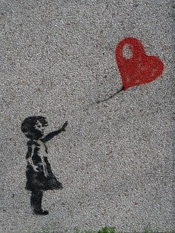 Mural, Girl, Balloon, Heart, Graffiti