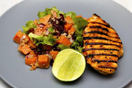 Grilled Chicken, Quinoa, Salad