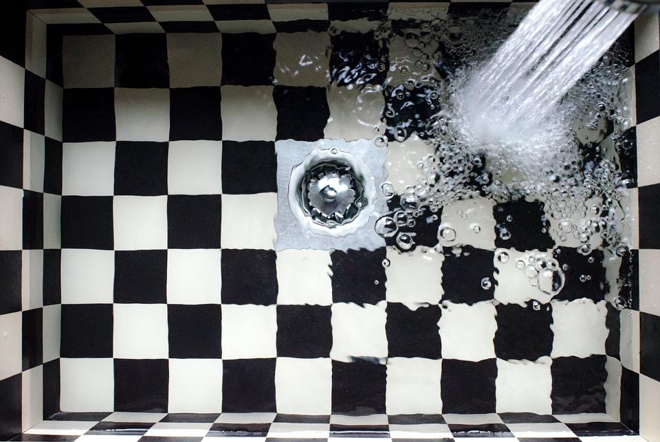 Sink, Kitchen, Checkered, Water Tap, Water, Splash