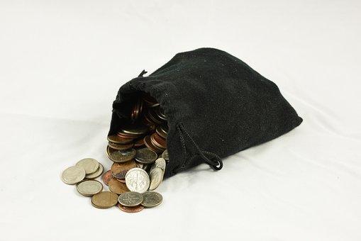 コインの袋, 小銭入れ, お金, 巾着袋, ポーチ, 宝, 通貨, 袋, 現金