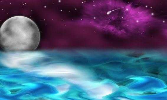 Ocean, Moon, Stars, Astronomy
