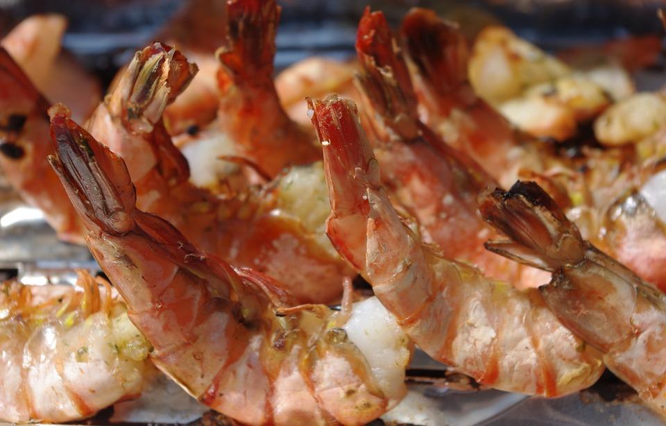 虾, 鱼, 烤架, 食品, 生物, 吃, 挪威海蜇虾, 海鲜, 地中海美食, 鱼菜, 法院, 水下, 新鲜