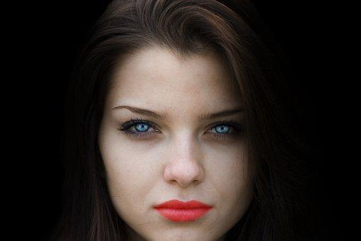Woman, Face, Beauty, Black Background