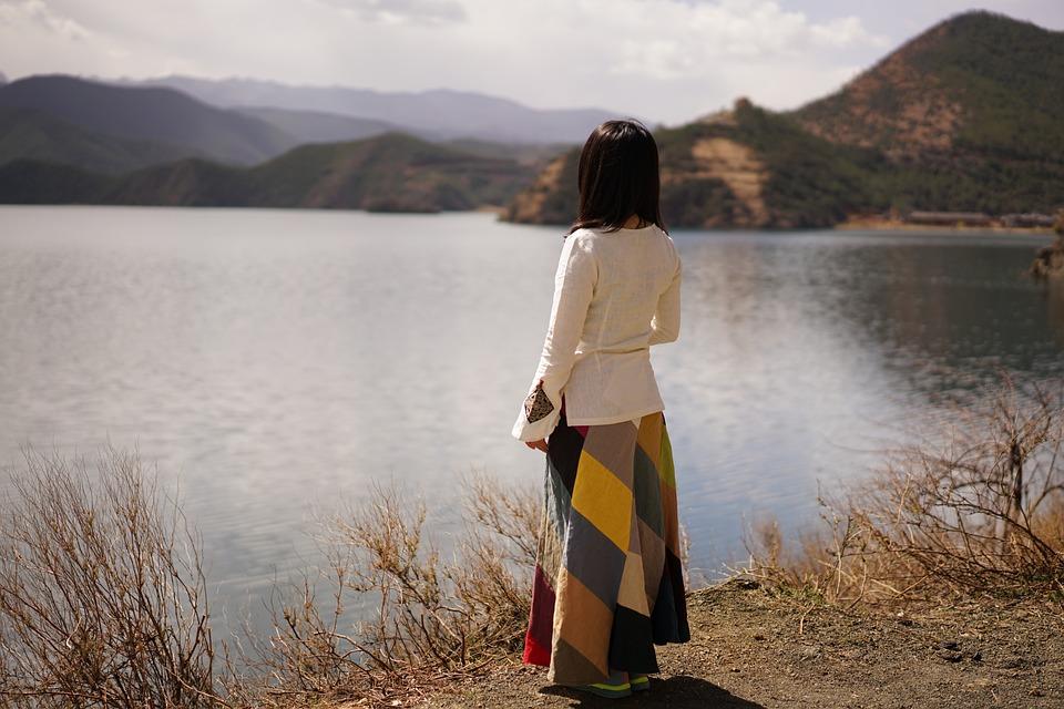 Lake, Landschap, Afwachten, Vrouw, Achteraanzicht