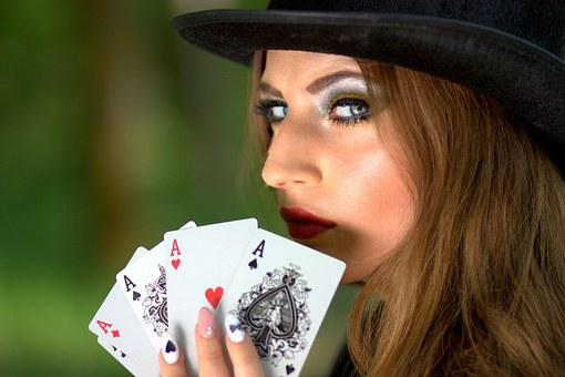 Girl, Topper, Playing Cards, Luck, Poker