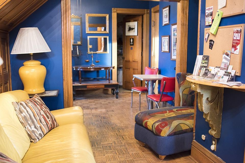 Kleurrijke, Interieur, Meubilair, Kamer, Blauw, Geel
