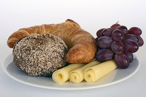 Roll, Summit, Croissant, Cheese, Grapes