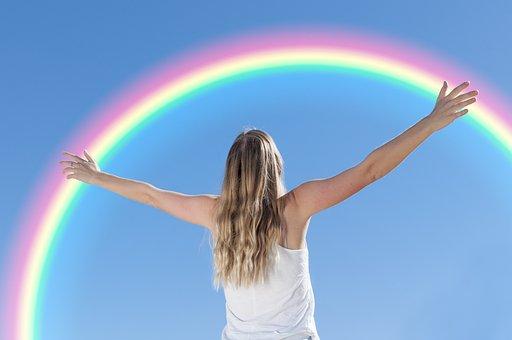 ホワイト, 若いです, 女性, で, 採用, 虹, ブルーレインボー, 虹, 虹