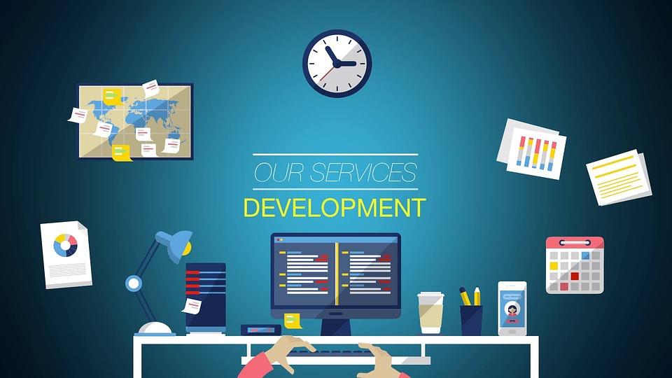 컴퓨터, 바탕 화면, 사무실, 개발, 서비스, 블루 컴퓨터, 블루 Office, 파란 노트북