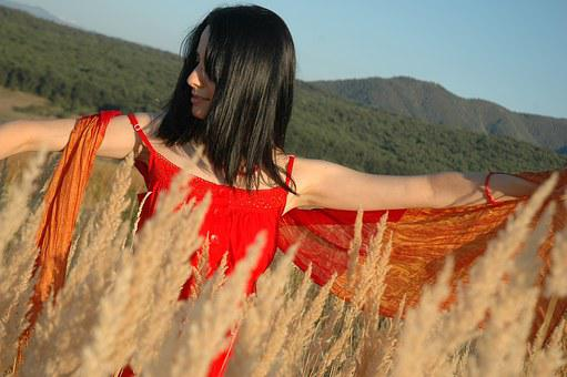 Girl, Woman, Female, Nature, Red Dress