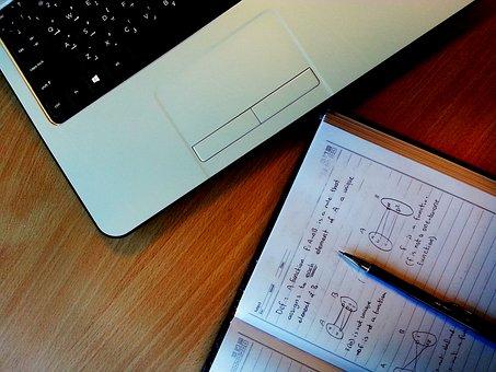 Laptop, matemática, mesa, computador, tecnologia