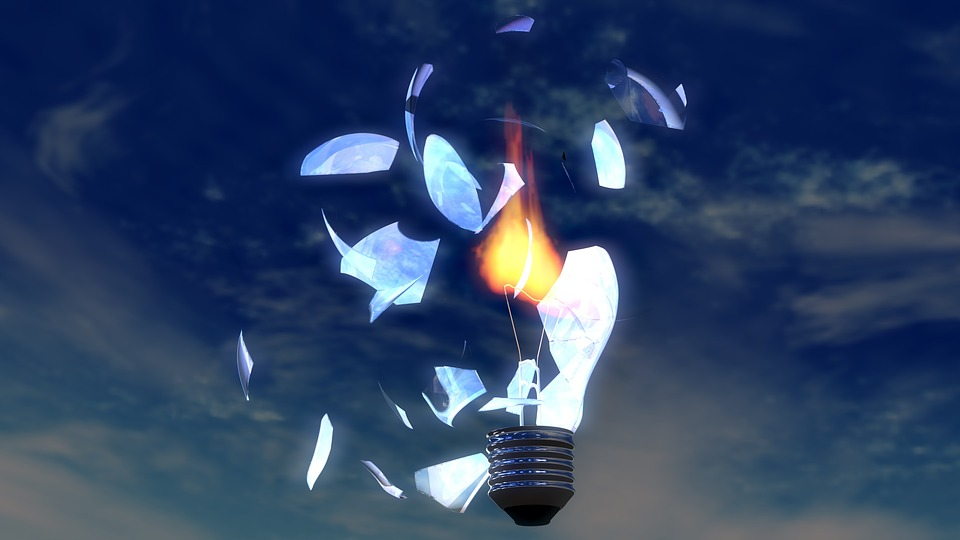Light Bulb, Broken Glass, Flame, 3D, Blender