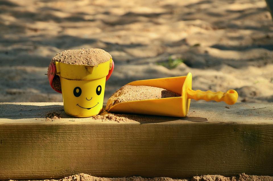 Sand Pit, Children'S Playground, Sand, Bucket