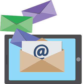 Email marketing marketer icon showing a tablet out of which envelopes are coming out as part of My personal experience with AWeber as an affiliate and a customer
