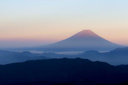富士山, 日本, 北岳から見る富士, 赤富士, 桃富士, 早朝, 日の出, 登山