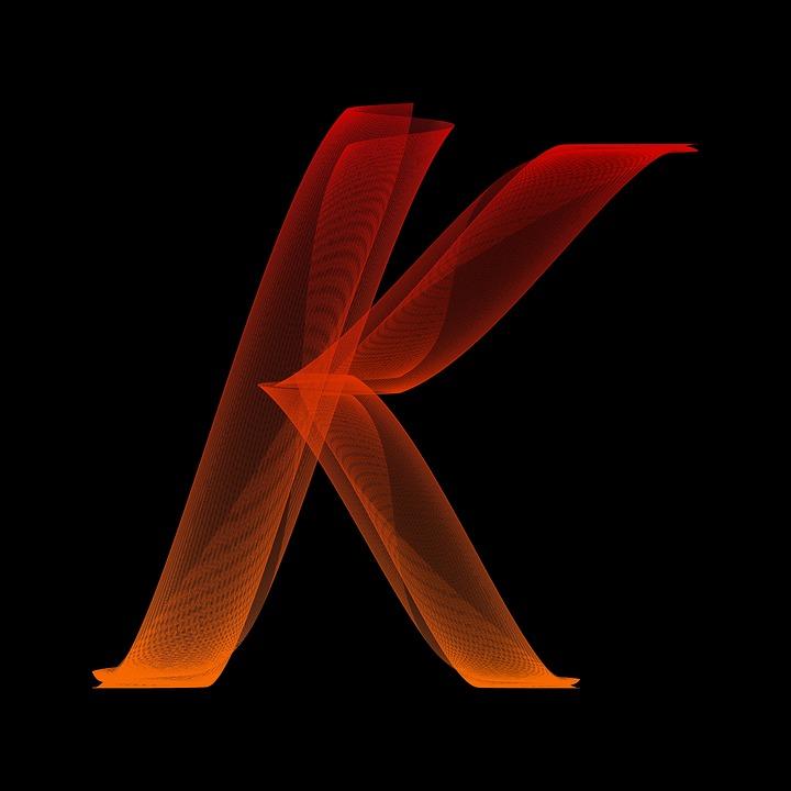 Letter K Particles Alphabet Lines Wave Swing