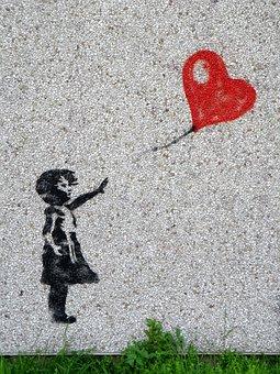 Peinture Murale, Fille, Ballon, Enfant